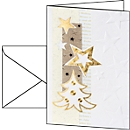 Weihnachtskarten Sigel White Christmas, A6, 185 g/m², Edelkarton mit Weihnachtsbaum/Sternen, inkl. Umschläge, 10 Stück
