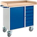 Werkbank met kast, 6 schuifladen, 3-zijdige houten omranding, 2 zwenkwielen/2 bokwielen