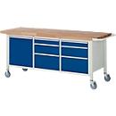 Werkbank Serie 8570, fahrbar, 6 Schubladen, 1 Fachboden mit Tür