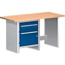 Werkbank WBI 150-3, 1 Schublade, 1 Schrankteil, 1 offener Bereich