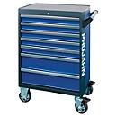 Werkstattwagen PROJAHN GALAXY, Stahlblech, 7 Schubladen, bis 450 kg, abschließbar, Blau/Anthrazit