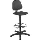 Werkstoel 9651, integraalschuim, glijders, voetenring, zwart