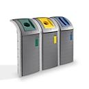 Wertstoffsammler Hailo ProfiLine WSB Design Plus XXXL, ABS, grau, 120 l, m. 3 farbigen Einsätzen