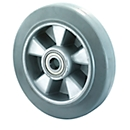 wiel, elastisch, grijs, 100x40 mm zonder rem