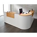 Winkeltheke Come-In, rund, 3 Ablagen, Breite 1600 mm, Eckelement weiß, weiß/Buche-Dekor