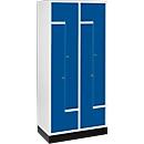 Z-Garderobenschrank, 4 Abteile, mit Sockel, Zylinderschloss, enzianblau