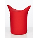 Zipfel poef WERTHER, wolvilt, moeilijk ontvlambaar, zithoogte 500 mm, greeplus, rood