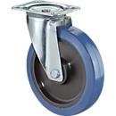 Zwenkwiel, Elastisch blauw, op rollagers, Montagehoogte 105 mm
