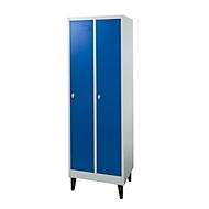 2-vaks locker, metaal, B 600 x D 500 x H 1850 mm, met hoedenplank, kledingstang met 3 verschuifbare haken, poten, draaigrendelslot, grijs/blauw