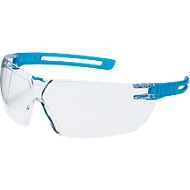 Bügelbrille Uvex x-fit, EN 166, EN 170, Polycarbonat klar, Rahmen blau transluzent, 5 Stück