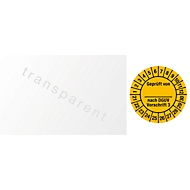 """Kabelprüfplakette """"Geprüft von - nach DGUV Vorschrift 3"""", 2021-2030, 100 St. à 25 x 60 mm, Folie, gelb"""