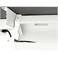 Kabelwanne Standard, für höhenverstellbare Schreibtische ab B 1400 mm, abklappbar, weiß