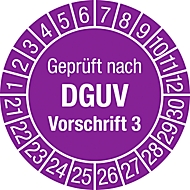 """Prüfplakette """"Geprüft nach DGUV Vorschrift 3"""