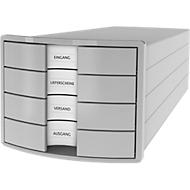 Schubladenbox HAN Impuls 2.0, 4 Schubladen, Format A4, stapelbar, geschlossen, lichtgrau