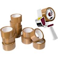 12 rouleaux d'emballage, brun + 1 dérouleur, gratuit