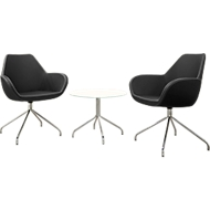 2 bezoekersstoelen KONSIT, zwart + 1 bijzettafel KONSIT