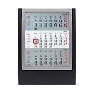 3-Monats-Tischkalender, Tischaufsteller, B 130 x H 174 mm, Werbedruck 110 x 25 mm, schwarz/silber