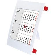 3-Monatskalender, mit 2 Jahres-Kalendarium, aus Polystyrol, deutsch, weiß/rot