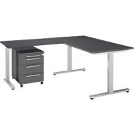 3-tlg. Büromöbelset Schreibtisch Start Up, Rechteck, T-Fuß, B 1600 x T 800 x H 735 mm + Anbautisch, Rollcontainer, graphit/graphit