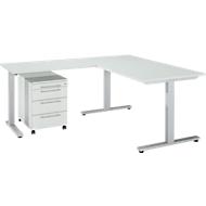 3-tlg. Büromöbelset Schreibtisch Start Up, Rechteck, T-Fuß, B 1600 x T 800 x H 735 mm + Anbautisch, Rollcontainer, lichtgrau/lichtgrau