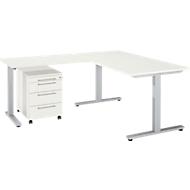 3-tlg. Büromöbelset Schreibtisch Start Up, Rechteck, T-Fuß, B 1600 x T 800 x H 735 mm + Anbautisch, Rollcontainer, weiß/weiß