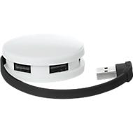 4 Port USB-HUB, Roundhub, weiß/schwarz