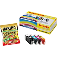 4 Schäfer Shop Tintenpatronen, baugl PGI-550XLPGBK/CLI-551C/M/Y +HARIBO Saft-Goldbären Minis
