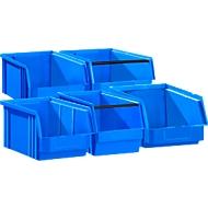 5-delige set magazijnbakken SSI Schäfer TF 14/7, kunststof, verschillende uitvoeringen, 0,8 - 23 l, blauw
