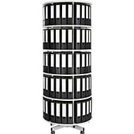 5 etages draaibare ordnerzuil + 40 A4-ordners, 80 mm zwart GRATIS