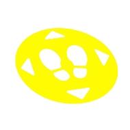 5er-Set Bodenaufkleber Abstand halten, selbstklebend, reißfest, Ø 470 mm, verstärktes PVC, rund, gelb