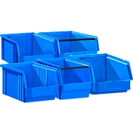 5er-Set Sichtlagerkasten SSI Schäfer TF 14/7, Kunststoff, verschiedene Modelle, 0,8 - 23 l, blau