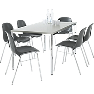 6 stoelen BETA, antraciet + tafel SET