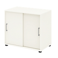 Aanbouwkast TEMPIO, van hout, 2 schuifdeuren, 2 OH, B 800 x D 430 x H 740 mm, wit/wit