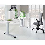Aanbouwladeblok LOGIN, met open opzetkast, 4 schuifladen, B 409 x D 800 x H 1120 mm, hout, afsluitbaar, wit/wit