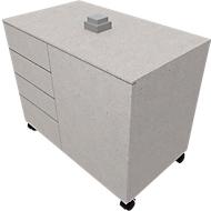 Aanbouwladeblok SOLUS PLAY, 4 schuifladen, 1 vleugeldeur, B 800 x D 500 x H 720 - 1080 mm, ceramic grey