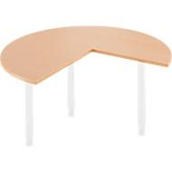 Aanbouwtafel, Ø 1400 mm, beukenpatroon/wit