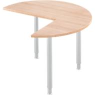 Aanbouwtafel, 3/4 cirkel, Ø 1200 mm, aanbouw rechts/links, kersen-Romana/wit aluminium