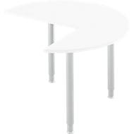 Aanbouwtafel, 3/4 cirkel, Ø 1200 mm, aanbouw rechts/links, wit/blank aluminium