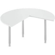 Aanbouwtafel, 3/4 cirkel, Ø 1400 mm, aanbouw rechts/links, lichtgrijs/blank aluminium