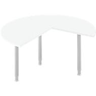 Aanbouwtafel, 3/4 cirkel, Ø 1400 mm, aanbouw rechts/links, wit/blank aluminium