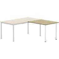 Aanbouwtafel BEXXSTAR, poot ronde buis, rechthoekig, B 1000 x D 600 x H 740 mm, beukenpatroon