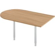 Aanbouwtafel, boogvorm, B 1400 x D 800 mm, kersen-Romana/wit aluminium