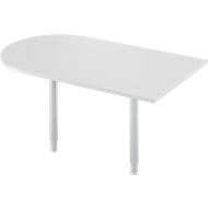 Aanbouwtafel, boogvorm, B 1400 x D 800 mm, lichtgrijs/blank aluminium