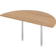 Aanbouwtafel, halve cirkel, Ø 1600 mm, kersen-Romana/wit aluminium