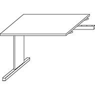 Aanbouwtafel LOGIN, C-poot, rechthoekig, B 1000 x D 600 x H 740 mm, lichtgrijs
