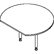 Aanbouwtafel, met 2 poten, met recht afgesneden tafelblad, Ø 1200 mm, beuken