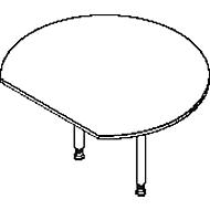 Aanbouwtafel, met 2 poten, met recht afgesneden tafelblad, Ø 1200 mm, lichtgrijs