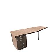 Aanbouwtafel met verrijdbaar ladeblok X-TIME-WORK, vrije vorm, B 1900/1000 x D 600 x H 740 mm, links, iep/aluminium