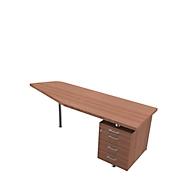 Aanbouwtafel met verrijdbaar ladeblok X-TIME-WORK, vrije vorm, B 1900/1000 x D 600 x H 740 mm, rechts, Canaletto notenpatroon/wit