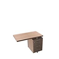 Aanbouwtafel met verrijdbaar ladeblok X-TIME-WORK, wangen, rechthoekig, B 1000 x D 600 x H 730 mm, iep/aluminium